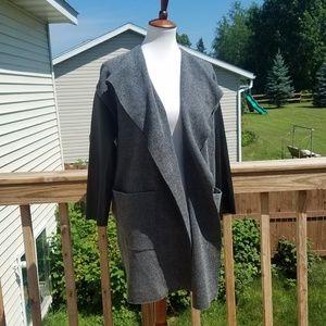 Zara Knit Faux Leather Sleeve Cardigan